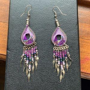 Purple dangle earrings. Silver
